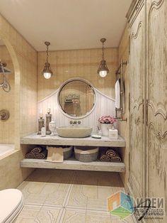Дизайн-проект квартиры в ЖК Юбилейный Квартал, интерьер ванной комнаты, раковина на столешнице