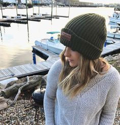 Surfboard beanie leather patch. One Ocean - Beanie - Olive - Brown - Knit - Leather Patch - Surf - Surfer - Winter Hat - Winter -