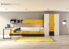 Dormitorio Compacto Tetris armario y escritorio