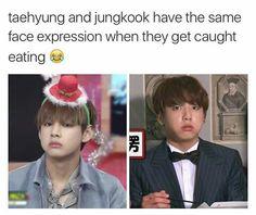 😁 BTS: Taehyung and Jungkook Memes Bts Español, Vkook Memes, Bts Bangtan Boy, Bts Boys, Bts Jungkook, Jungkook Eating, Memes Funny Faces, Bts Memes Hilarious, Funny Humor