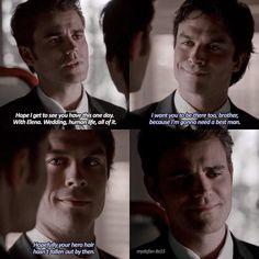 I love it when Damon calls it Stefan's hero hair!