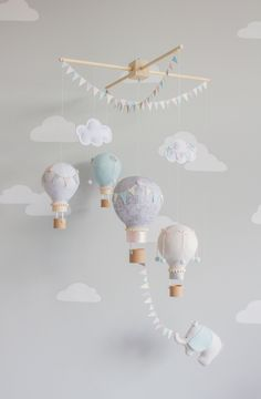 Hot Air Balloon Baby Mobile, Elephant Nursery Decor, Travel Theme Nursery Ideas - Decoration For Home Elephant Nursery Decor, Nursery Décor, Nursery Ideas, Elephant Mobile, Whimsical Nursery, Baby Boy Bedroom Ideas, Nursery Crafts, Nursery Pictures, Baby Girl Nursery Themes