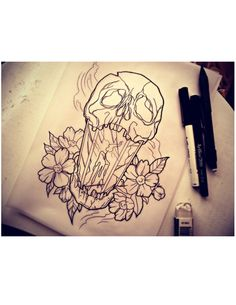 Skull Lantern Neotraditional Art Tattoo