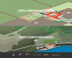 botões para área de visitas enfatizados com ilustrações das áreas da herdade e da quinta.  http://www.esporao.com