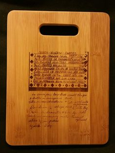 Custom engraved cutting board for Leanne from 3DCarving on Etsy