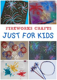 Lots of fun fireworks crafts for kids! Perfect for the 4t of July.