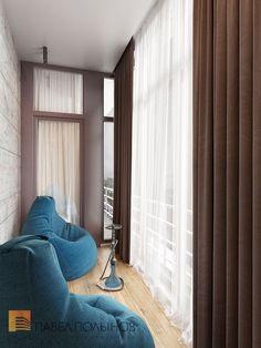 """Пример... Идеальный вариант для размещения штор из блэкаута - это балкон. В данном случае, при закрытых шторах, Вы получите эффект """"тень над домом""""."""