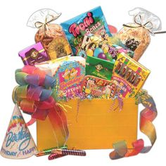 Gift Box to Say Happy Birthday! The Gift Box to Say Happy Birthday will surprise the birthday boy or girl with treats of all sorts! $49.17 #gummybear #candy #birthday #candle #birthdaycandle #jellybeans