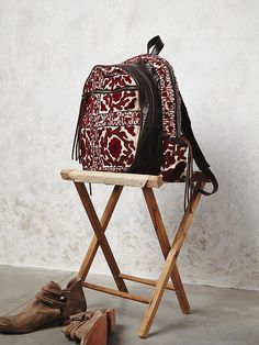 Nirvana Backpack,Handmade leather backpack, featuring vibrant embroidered upcycled textiles from Thailand. Three chambers with zip closures. Side pockets and adjustable padded straps. Backpack Purse, Purse Wallet, Leather Backpack, Pouch, Upcycled Textiles, Boho Bags, Bohemian Bag, Look Boho, Fringe Purse