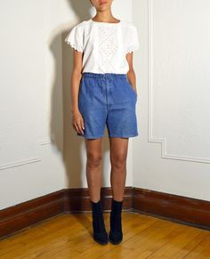 Blue chambray shorts   https://www.etsy.com/listing/228770749/blue-chambray-shorts?ref=listing-shop-header-1  #womens #vintage #shorts #blue #chambray #denim #jeans #etsy #etsyvintage #montreal #mtl #minimal #minimalist