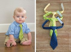 """I don't have a boy..but these baby ties are cute!  The """"Little Guy Neck Tie"""" --- a PDF pattern (sizes 0-3 months - 3T)   via Make It and Love It"""
