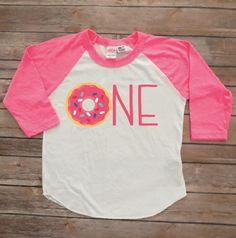 """1st birthday donut shirt, donut """"ONE"""", custom personalized, donut birthday shirt, donut tshirt, donut bday shirt, birthday girl shirt by JADEandPAIIGE on Etsy https://www.etsy.com/listing/583410448/1st-birthday-donut-shirt-donut-one"""