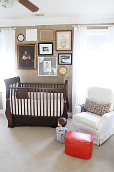 burlap and navy nursery