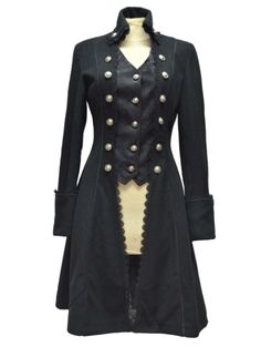 Rebelsmarket black gothic long coat for womens pirate victorian style women long coat dresses 4 Steampunk Fashion, Victorian Fashion, Gothic Fashion, Gothic Coat, Gothic Lolita, Gothic Mantel, Coats For Women, Clothes For Women, Langer Mantel
