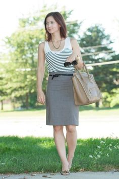 Stripes tank / gray pencil skirt / leopard sandals / twisted belt buckle to the side