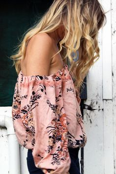Sexy off-the-shoulder blouse by Arnhem Clothing. This is the Anjuli Crop in Saffron Floral.