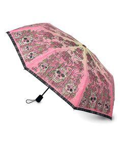 Look at this #zulilyfind! Pink Sugar Skull Travel Umbrella #zulilyfinds