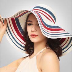 Stripe white straw hat wide brim for summer UV package