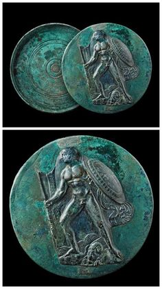 Greek bronze mirror with a relief depicting Jason and the Golden Fleece, 4th centry B.C.
