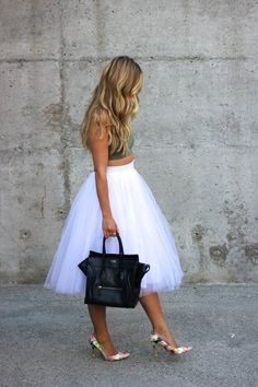 Cara McLeay is wearing an olive top from American Eagle, white tulle skirt from Windsor, bag from Celine and floral pumps from Stuart Weitzm...
