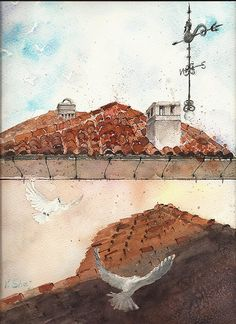 Watercolor painting roofs doves original watercolor by YuliaShe, $83.00