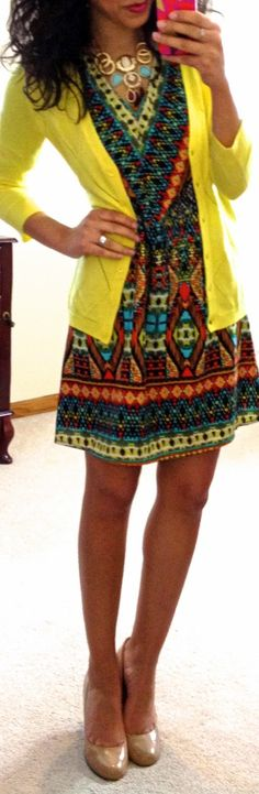Nice bright outfit...I'd go with something other than yellow for the cardigan so I wouldn't look sickly :)
