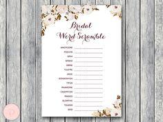 Bridal Word Scramble Bridal Shower Game Bridal by BrideandBows