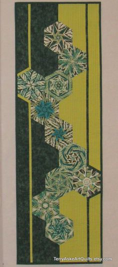 Contemporary Art Quilt - Green Hexagons by Terry Aske