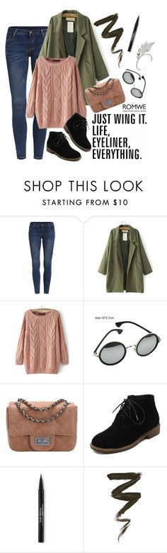 """ROMWE:Cable Knit Loose Pink Sweater"" by paisleywest ❤ liked on Polyvore featuring Tt Collection, Trish McEvoy and romwe"