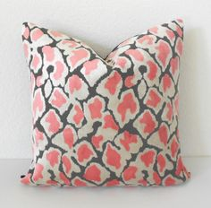 Double Sided Coral Pink leopard velvet by pillowflightpdx on Etsy