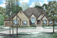 Front Elevation of this Luxury House (#153-1982) at The Plan Collection.