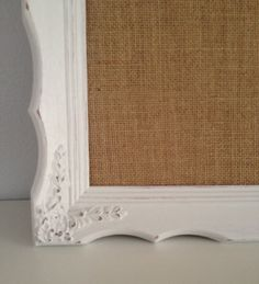 Burlap Corkboard Magnetboard Victorian Framed White by belou492