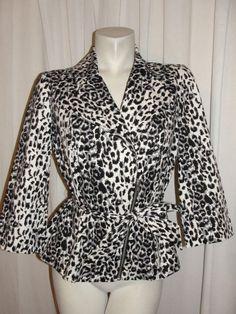 FASHION BUG Womens Jacket Black Gray White Animal Print Belted Zip Blazer Size 8 #FashionBug #BasicJacket #BusinessCasual