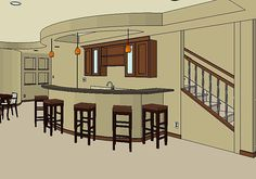 basement bar design but open to be able to walk through on both ends of the island with stools Basement Makeover, Basement Renovations, Home Remodeling, Basement Bar Designs, Basement Ideas, Cool Rooms, Great Rooms, Home Wet Bar, Basement Inspiration