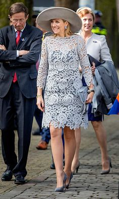 Queen Maxima of the Netherlands was lovely – and leggy! – in lace as she opened a Chinese porcelain exhibition at the Prinsenhof Museum in Delft.<br><P>Photo: Patrick van Katwijk/Getty Images