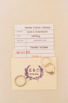 This wedding took place in the amazing Boston Public Library, but is a really cute escort card idea for a book theme :)