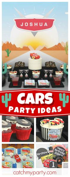 Check out this fun Cars themed birthday party. The dessert table is awesome! Car Themed Parties, Cars Birthday Parties, Birthday Party Decorations, 2nd Birthday, Birthday Ideas, Birthday Cakes, Kids Party Themes, Party Ideas, Disney Cars Party