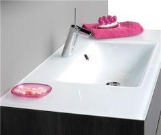 Wastafel glas Allure met afzetruimte links/rechts | Thebalux badkamermeubelen Bathroom, Sink, Decor, Bathtub, Home Decor