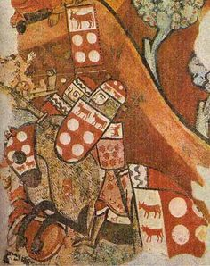 Pintures murals de la conquesta de Mallorca, 1285-1290 Detail of bottom right of right section Battle of Porto Pi, 12th September 1229 William II of Baern & Moncada at the Battle of Porto Pi Guillem II de Baern & Moncada at the Battle of Portopi. Behind him is Guillem de Mediona