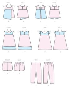 0fbeafd6ee801 M7346 | Children's/Girls' Overlay Tops, Yoked Dresses, Shorts and Pants  Sewing Pattern