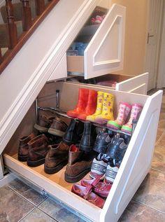 Under-the-Stairs Shoe Storage