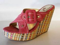 "7.5 Pink Multi Wedge- $28.99 Kayleen Straw and Suede ​ Size 7.5     4"" Heel"