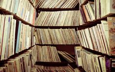 Download wallpapers library of vinyl records, music lover concepts, shelves, old records