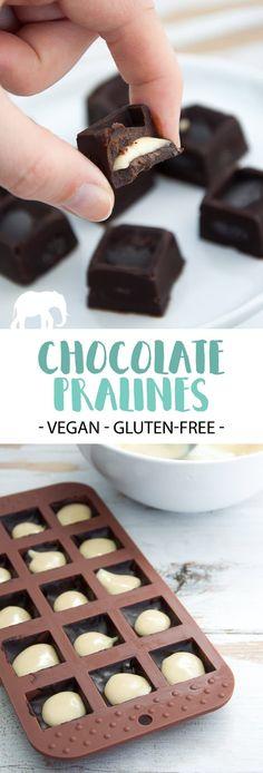 Vegan Chocolate Pralines filled with almond butter #vegan #glutenfree #easy #chocolate #pralines   ElephantasticVegan.com via @elephantasticv