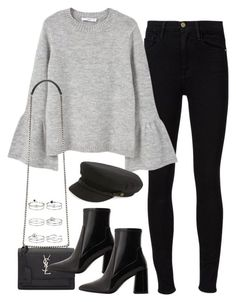 """Untitled #1709"" by breannaflorence on Polyvore featuring Frame Denim, MANGO, Yves Saint Laurent, Brixton and Miss Selfridge #winteroutfits"
