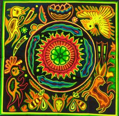 Huichol Peyote Mandala UV Painting - - painted on order - fully blacklight glowing colors - peyote visionary artwork Folk Art Flowers, Flower Art, South American Art, Yarn Painting, Mexican Folk Art, Mexican Tiles, Sand Crafts, Hippie Art, Crazy Colour