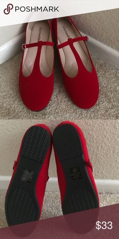 Adorable Red T-Strap Flats New, never worn. Size 10 runs big ModCloth Shoes Flats & Loafers