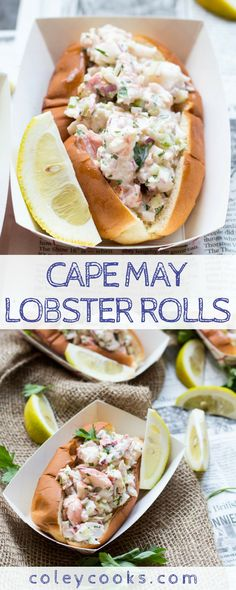 This easy recipe for lobster rolls are a tradition in my family! This is our favorite way to prepare them every summer. Lightly dressed big chunks of lobster stuffed inside a buttery top split bun. Lobster Roll Recipes, Lobster Rolls, Fish Recipes, Seafood Recipes, Dinner Recipes, Cooking Recipes, Healthy Recipes, Lobster Sandwich, Lobster Party