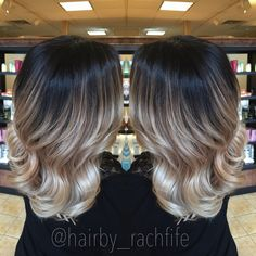 Amazing high contrast stretched root ombre sombre look created using redken chromatics and wella blondor with olaplex! Hair by Rachel fife at Sara Fraraccio salon