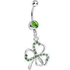 Light Green Silvery Shamrock Dangle Belly Ring | Body Candy Body Jewelry